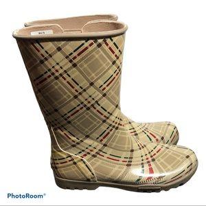 Sperry cream plaid waterproof rubber rain boots 9